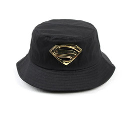 aa1c69580a1 Chinese 2018 New Letter Superman Bucket Hat Metal Label Cotton Casual  Outdoor Cap For Adult Men