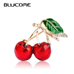 brooch bouquet wholesale UK - Blucome Red Enamel Brooches For Women Kids Cherry Brooch Corsage Small Bouquet Hijab Pins Feminino Party Bag Dress Accessories