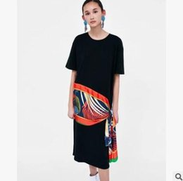 5c1a2911186a Summer women dress Round neck short-sleeved print dress Fashion scarf  stitching split cotton black long skirt