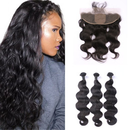 $enCountryForm.capitalKeyWord Australia - 13x4 Body Wave Silk Base Frontal with 3 Bundles Brazilian Virgin Human Hair with Lace Frontal Closure FDshine