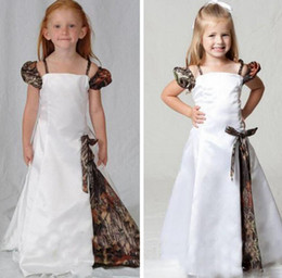 evening gowns kids 2019 - Lovely Camo Flower Girl Dresses Spaghetti Straps Cap Sleeves Floor Length Camouflage First Communion Dress Kids Evening