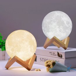 moon night lights UK - Three Print Light Touch 3D Color Change Lamp Switch Bedroom Home Usb Night Moon Led Lunar Bookcase Xsujt