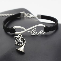 $enCountryForm.capitalKeyWord Australia - Creative Gifts Vintage Musical Instrument Jewelry Antique Silver French Horn Charm Infinity Love Music Trumpet Black Leather Suede Bracelets