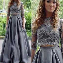e674ed521d 2018 Gray Prom Dresses Two Piece Jewel Neck Lace Applique Top Three Quarter  Sleeves Satin Formal Party Wear Evening Gowns Homecoming Wear