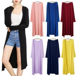 Knitted Cardigans Canada - Women Spring Cardigan Casual female Long outwear 15 colors Crochet Long sleeve Knitted Tops Ladies long Sweaters plus size M-4XL