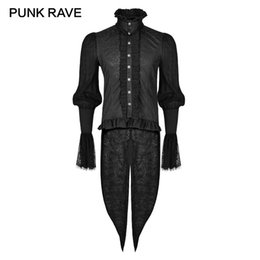 3b6714d9f1a0 Punk Gothic Clothing Canada - PUNK RAVE Gothic Dovetail Black Shirt Lace  Puff Sleeves Brocade Swallow