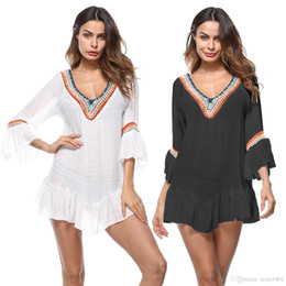 6972abbf36f5c Summer Beach Cotton Cover-Ups V-neck Ruffle Sleeve Dress Women Tunic Sarong  Bathing Suit Coverups Bikini Cover Up Girl Swimsuit Beachwear
