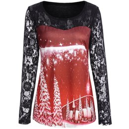 China Lace Patchwork T-shirts Women Stylish Autumn Winter O-Neck Long Sleeved Snow Printed Tees Asymmetrical Ladies Christmas Tshirts supplier asymmetrical t shirt wholesale suppliers