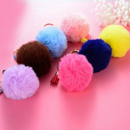 photo ears NZ - 2018 Hot Selling wool ball imitation fox fur wool ball key buckle bags and hanger tassel ears can be processed and customized