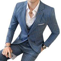 wedding dresses men slim 2019 - (Jacket+Vest+Pant) Mens Suits Wedding Groom Plus Size 5XL 3 Pieces Set Slim Fit Striped Casual Tuxedo SuitBusiness Dress