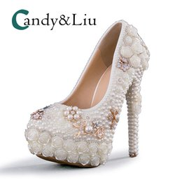 White Pearl Wedding Shoes Large Size Beaded Super High Heel Women Pumps with  Platform for Party Banquet Evening Dress Bridesmaid 94909cedea9d