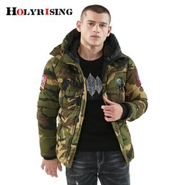 ea766e5c8f1 Holyrising Parkas Hombre Invierno 100% Coon Camouflage Jaqueta Masculina  Inverno Thicken Overcoat Hooded Winter Coat 18421-5