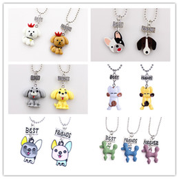 $enCountryForm.capitalKeyWord NZ - 2PCS Set Cartoon Dog Necklace Best Friends Pet Dog Pendants Fashion Jewelry for Kids Friendship Jewellery Gift