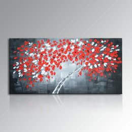 $enCountryForm.capitalKeyWord Australia - Handmade White and Red Wall Art Money Tree Abstract Oil Painting on Canvas for home decoration