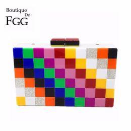 Clutch Acrylic Box Bags Canada - Brand Multi Plaid Women Acrylic Evening Rainbow Bag Party Box Clutch Bags Formal Dinner Hardcase Metal Day Clutches Shoulder Bag