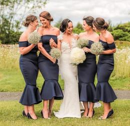 Strapless Satin Short Wedding Dresses Australia - 2019 Black Satin Strapless Mermaid Bridesmaid Dresses Short Sleeves Tea Length Plus Size Bridesmaid Gowns Wedding Guest Dresses Party Gowns