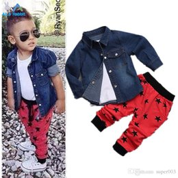 $enCountryForm.capitalKeyWord Australia - 2018 Children's clothing set Jacket Coat + t shirt + pants 3pcs set baby boy's suit set Kids long sleeve denim trousers jeans