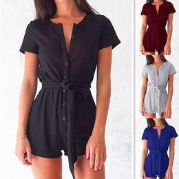 $enCountryForm.capitalKeyWord Australia - Shorts Jumpsuit plus size Rompers Leisure Time Sexy Button Bandage Body Sculpting Lin Tai Underwear Suit-dress mini v-neck blue black
