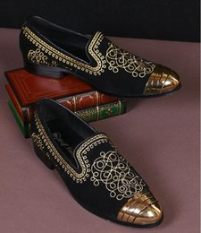 ethnics shoes Australia - 2018 New Style Embroidery Ethnic style Loafers Men Moccasins Slippers Black suede Men's Dress Shoes Party Wedding Flats Casual Shoes S376