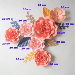 paper flower decoration diy Australia - DIY Artificial Flowers Fleurs Artificielles Backdrop Giant Paper Flowers 6PCS+ 7 Leave Wedding Party Decoration Living Room Fake Flowers