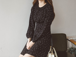 China 2018 New Fashion Doll collar black waist slim A - word chiffon French girl tea dress female autumn retro first love dress suppliers
