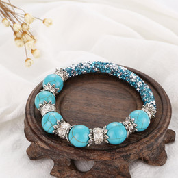 Wholesale New Turquoises Beads Natural Stone Bracelets for Women Men Alloy Flower Decoration Shiny Charm Bracelet Bangle Fashion Jewelry