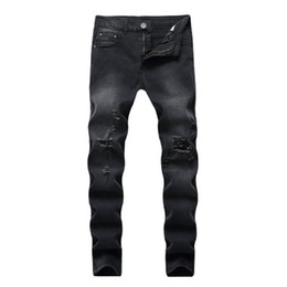 Man s leggings online shopping - Black Jeans Slim Fit High Elastic Casual Demin Skinny Pants Wash Broken Street Wear Kanye Hip Hop Leggings