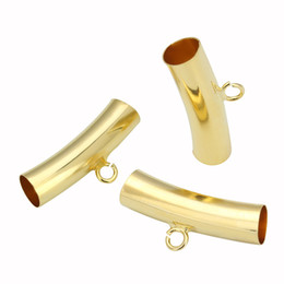China XINYAO 25pcs lot Hole 6.4mm Gold Color Necklace Pendants Connectors Curved Bail Tube Spacer Beads For DIY Jewelry Making F5322 suppliers