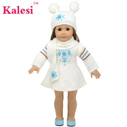 Wool Clothing Children Canada - 18 inchs Girl doll clothes sweater dress with hats and long scarf for child party gift toys--Doll Clothes Accessories