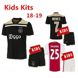 ce4c0ab5a5f Top quality 2018 2019 Ajax Soccer Jerseys kids kits 18 19 Camisa ZIYECH  KLUIVERT NOURI DOLBERG YOUNES Jerseys Football Shirts Sets Maillot