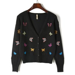 2018 Spring Autumn Butterfly Embroidery Pattern Jersey V Collar Long Sleeve  Fashion All Matched Women Cardigan Knitted Sweater fe7b0f4ae