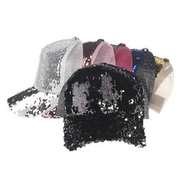 Discount mesh back baseball caps 6 Colors Mermaid Sequins Hat Glitter Ponytail Baseball hat Girl Softball hats back hole Pony Tail Glitter Mesh Baseball