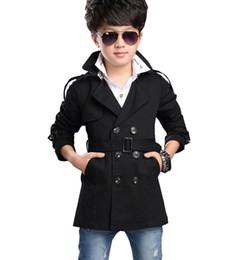 O envio gratuito de 2018 outono menino trespassado casaco e seções longas blusão crianças jaqueta outerwear bebê 5-16 anos venda por atacado