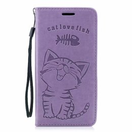 Galaxy Note Cute Covers UK - Cute Leather Wallet Case For Iphone XR XS MAX X 10 8 7 6 SE 5 5S Galaxy Note 9 S9 Plus S8 Cat Love Fish Eat ID Card Suck Lovely Flip Cover