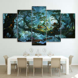 Art Canvas Prints Australia - Canvas Painting Wall Art Modular HD Printed 5 Pieces Fantasy Houses Magic Forest Night Pictures Tree Poster Home Decor Framework