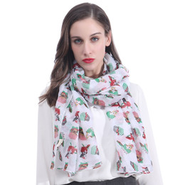 soft white scarf UK - Cute Puppy Dog Pet Animal Print Women Scarf Shawl Wrap Large Size Gift Soft Light Weight