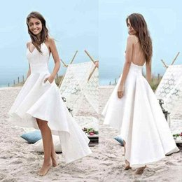 $enCountryForm.capitalKeyWord Canada - High Low Short Beach Cheap Wedding Dresses 2018 A Line Vestido Cheap Merry Sexy Straps V Neck Simple Cheap Summer Bridal Gowns