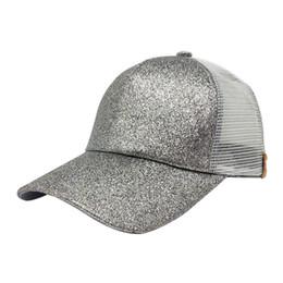 c8b19bcf807 2018 fashion Women Ponytail Baseball Cap Sequins Shiny Messy Bun Snapback Hat  hat summer beach sun Caps gorras para hombre A8