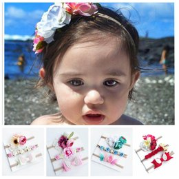 Hair band wings online shopping - Baby Girls Wing Lace Headbands Set Kids Artificial Flower Hair Bows Children Nylon Hair Band Set Kids Hair Accessories set YL253