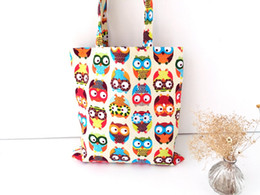 Discount cartoon deck - Fashion new double- deck owl womens canvas capacity handbag shopping shoulder bag shopper tote shopping portable handbag