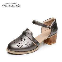 silver tie back hooks NZ - Cow leather big woman shoes US size 9 designer vintage High heels round toe handmade silver pink white beige Sandals 2017 sping