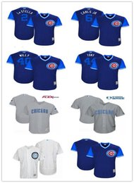 6d6803c8059 Men s Youth Chicago 44 Anthony Rizzo 6 Carl s Jr. 2 Tommy La Stella 40 Willson  Contreras Willy Majestic Royal 2017 Players Weekend Jersey