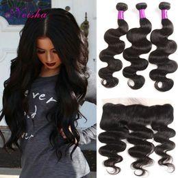 $enCountryForm.capitalKeyWord Australia - Brazilian Body Wave Hair Weaves With Pre Plucked Frontal 100% Virgin Human Hair 3 Hair Bundles With Ear To Ear Lace Frontal Closure