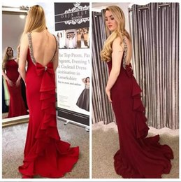 white red beaded jewels Canada - Sexy Backless Red Burgundy Mermaid Prom Dresses 2018 Jewel Neck Sleeveless Crystals Beaded Long Evening Dresses with Bow Ruffles Party Wear