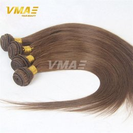 Toptan satış Brezilyalı insan bakire 8 # Düz İnsan Saç Dokuma 3 Paketler Lot Remy Saç Dokuma Sıcak Güzellik Ucuz Yumuşak Kalın Uç Saç