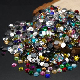 Barato Acrílico, Arte, Pregos, Jogo-Mixed Size Mixed Color 5000pcs / pack / set Flat Back Acrylic Rhinestones Nail Art Decorações Crystal Nail Round Flat Back Drill