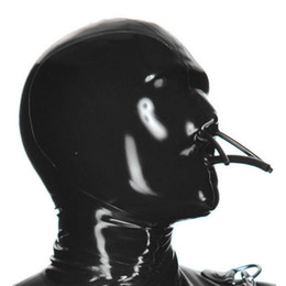 Wholesale cosplay costumes fetish online – ideas 100 Pure Latex Hoods with Fixed Mouth Tube and Nose Tube Collocation Latex Catsuits Rubber Fetish Mask Handmade Cosplay Party Wear