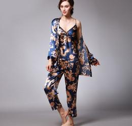 3effcd05a5 Three Pieces Suits Sleepwear Sexy Ladies Pajamas Sets Copy Silk Lingerie  Underwear Women s Sleepwear Nightwear Multicolors Plus Size