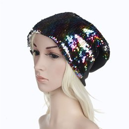 Discount red sequin hats - 2018 New Sequins Ladies Knit Hat Fashion Casual Warm Earmuffs Hats Pop Party Dress Hat