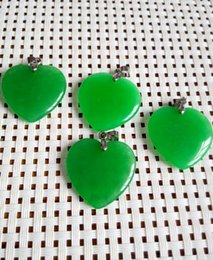 Pendant Jade Australia - Wholesale cheap Green Jade Heart Shape Silver emerald Pendant  necklace C3